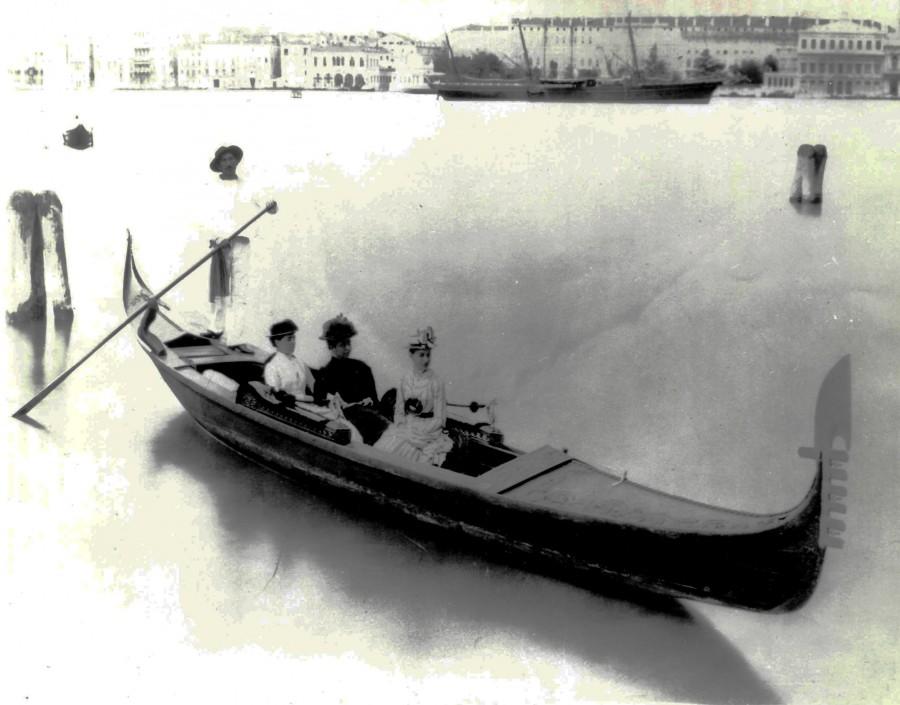 Sarah, Amy, and Eleanor. Photograph in gondola, Venice. Cooper-Hewitt, National Design Museum