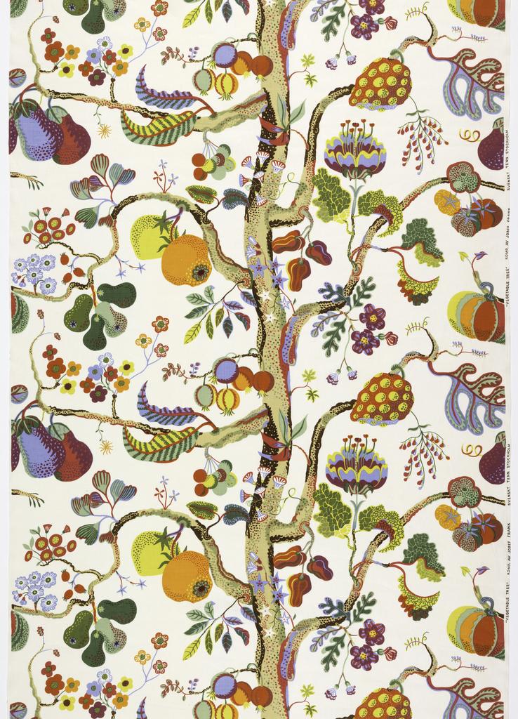 "Textile, ""Vegetable Tree"", designed 1944; this printing 1981  Medium: linen Technique: screen printed on plain weave Label: screen printed linen. 1982-60-1. Manufactured by Svenskt Tenn Designed by Josef Frank, 1982-60-1"