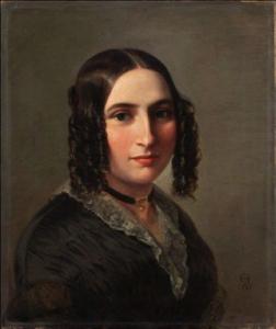 Moritz Daniel Oppenheim, German, 1800-1882 Portrait of Fanny Mendelssohn Hensel,1842  Oil on panel 16 15/16 × 14 3/16 in. (43 × 36 cm The Jewish Museum, New York Gift of Daniel M. Friedenberg, 2009-24