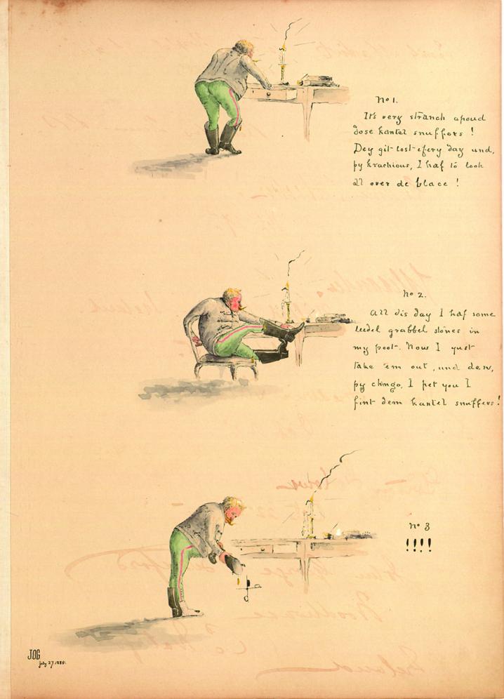 Poem and illustration, James O. Green, July 27, 1885